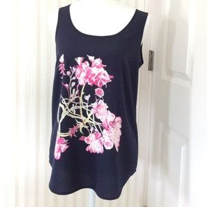 Porophrase Tops - Sleeveless Top With Flowers Size S
